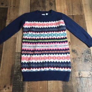 Gap Kids Fair Isle Sweater Dress Navy Blue Pink XS